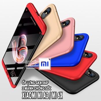Ốp Lưng cho máy Xiaomi Mi A2 GKK 360 Độ 3 mảnh Viền Màu
