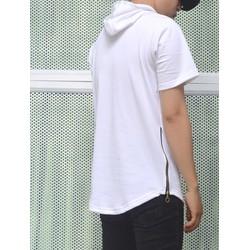 Áo thun Zip eo Hoodie màu trắng