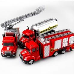Bộ 3 mô hình cỡ lớn xe kim loại sắt chủ đề xe cứu hỏa