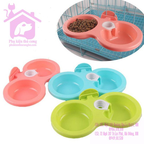 Bát đôi gắn chuồng ăn uống cấp nước tự động size bé dành cho thú cưng