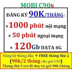 SIM 4G MOBI C90N 120GB M.PHÍ NỘI MẠNG 1000 PHÚT VÀ 50PHÚT NGOẠI MẠNG