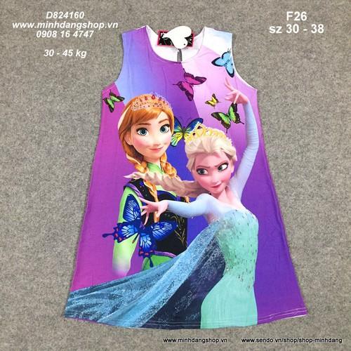 Đầm thun lạnh hình Elsa sz 30 - 45kg D824160