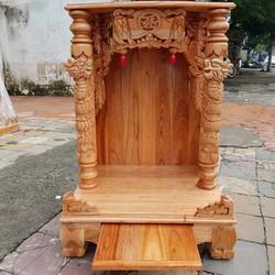 Bàn thờ thần tài ông địa gỗ xoan ngang 60 cm quỳ trụ màu vàng chanh