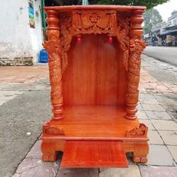 Bàn thờ thần tài ông địa gỗ xoan ngang 60 cm cao 88 cm quỳ trụ