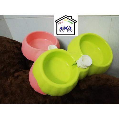 Bát đôi gắn bình ăn ,uống thú cưng - LuLu PetShop -
