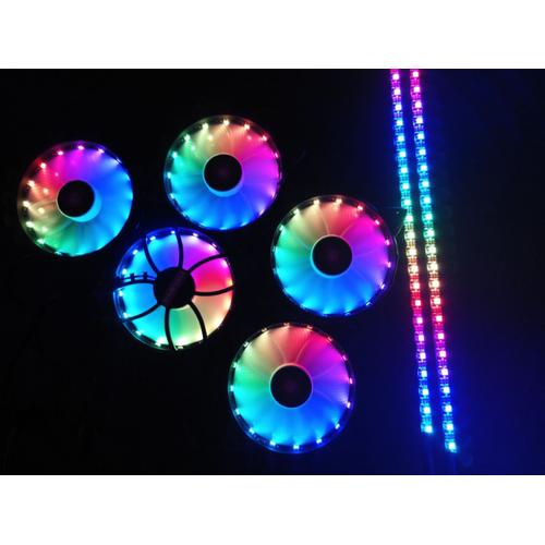 Bộ 5 Fan Case Coolman Led RGB Digital - Bộ Hub Kết Nối Nguồn Và Remote