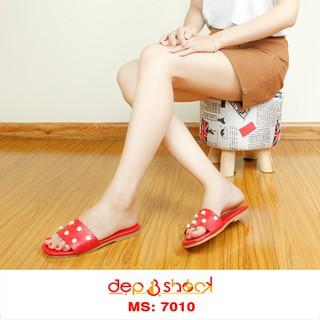 Dép Quai Ngang Đính Hột Ngọc Trai Màu Đỏ thương hiệu DEP&SHOCK - 7010 ĐỎ thumbnail