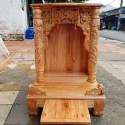 bàn thờ thần tài ông địa gỗ xoan ngang 48 cm quỳ trụ