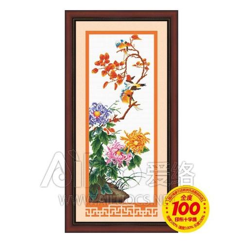 CÚC VÀ LAN KHỔ 31 x 81cm - TRANH CHƯA THÊU