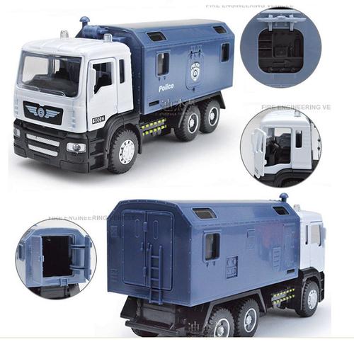 Ô tô tải cảnh sát đồ chơi trẻ em bằng sắt có đèn và âm thanh