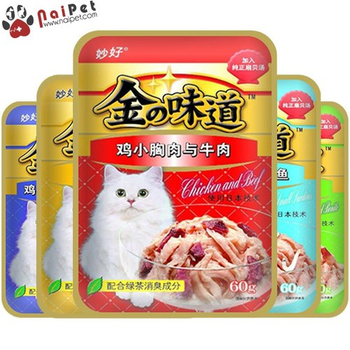 Thức Ăn Dinh Dưỡng Cho Mèo Pate Gà Sò Cá Cơm Bò Rau Củ Inaba Gói 60g