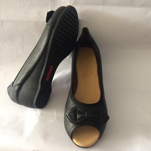 Giày Da Nữ Đế Xuồng Hở Mũi X036