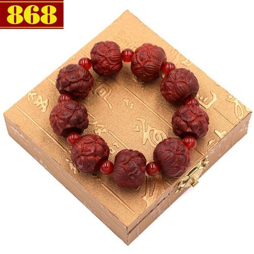Vòng chuỗi hoa sen gỗ trắc đỏ HSDCT38 kèm hộp gỗ