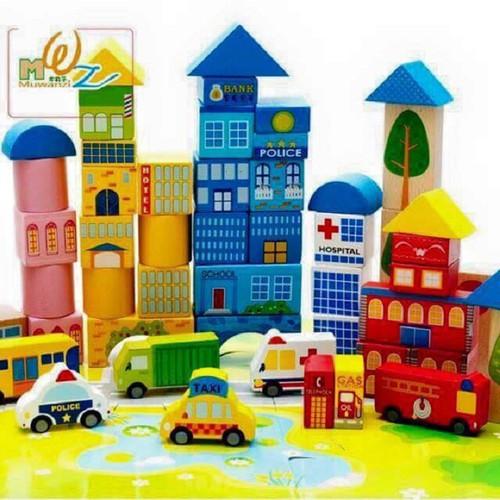 Bộ đồ chơi lắp ghép mô hình thành phố bằng gỗ - 5192257 , 11483695 , 15_11483695 , 199000 , Bo-do-choi-lap-ghep-mo-hinh-thanh-pho-bang-go-15_11483695 , sendo.vn , Bộ đồ chơi lắp ghép mô hình thành phố bằng gỗ