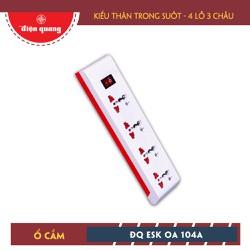 Ổ cắm Điện Quang ĐQ ESK 5W OA104A Kiểu thân trong suốt, 4 lỗ 3 chấu, màu trắng, dây 5m
