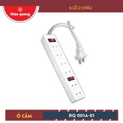 Ổ Cắm Điện Quang ĐQ 001A-01 6 Lỗ 2 Chấu, dây 5m