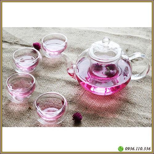 Bộ ấm trà thủy tinh - Bộ ấm chén pha trà thủy tinh có lõi lọc