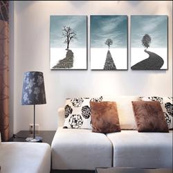 Bộ 3 tranh Canvas phong cách trừu tượng - Khung hình Phạm Gia PGTK88