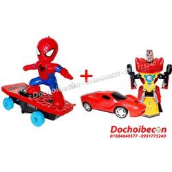 Combo đồ chơi người nhện lướt ván + xe robot biến hình