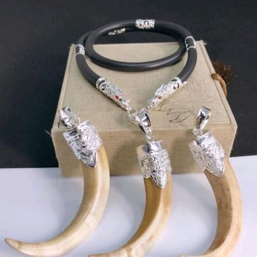 dây da bọc bạc hình đầu rồng 6 đốt - 5299179 , 11633438 , 15_11633438 , 700000 , day-da-boc-bac-hinh-dau-rong-6-dot-15_11633438 , sendo.vn , dây da bọc bạc hình đầu rồng 6 đốt