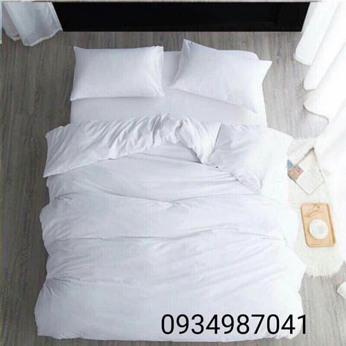 sét 4 món chăn ga khách sạn trắng tinh hàng nhập khẩu cotton Hàn Quốc