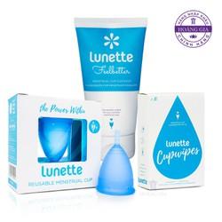 Bộ cốc nguyệt san Lunette màu Xanh dương, size 2 hộp vuông