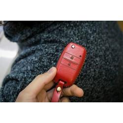 Bao da, bọc chìa khóa ô tô Kia morning da bò Handmead kèm móc