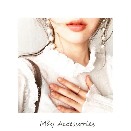 Khuyên dài chuỗi hạt ngọc thời trang màu bạc