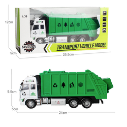 Mô hình xe chở rác đồ chơi trẻ em tỉ lệ 1:38 chạy cót
