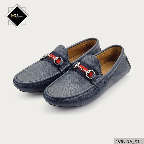 Giày nam lười thời trang da thuộc màu xanh tím than APCN 1C88-3A_XTT
