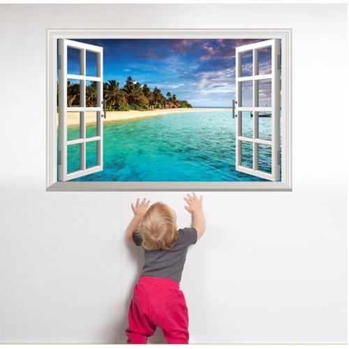 Decal trang trí cửa sổ 3D bãi biển bờ cát trắng