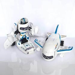 Đồ chơi máy bay biến hình thành robot cho bé có đèn nháy và nhạc