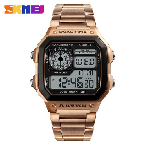 Đồng hồ điện tử Dual Time SKMEI 1335, chống nước 5ATM, thép không rỉ