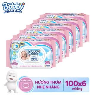 Bộ 6 gói Khăn ướt Bobby Care 100 tờ Hồng - thơm nhẹ - TUBB000084CB thumbnail