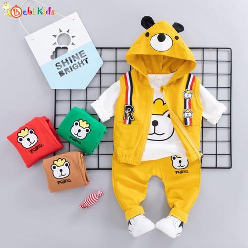 Set áo ghi lê gấu 3 chi tiết cực dễ thương cho bé trai bé gái
