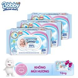 [Tặng thêm 1 gói cùng loại] Bộ 3 gói Khăn ướt Bobby không mùi 100 tờ chăm sóc làn da nhạy cảm của bé