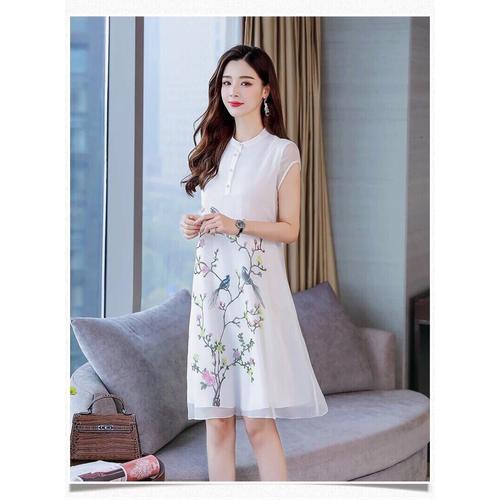 Đầm suông in hoa DS001