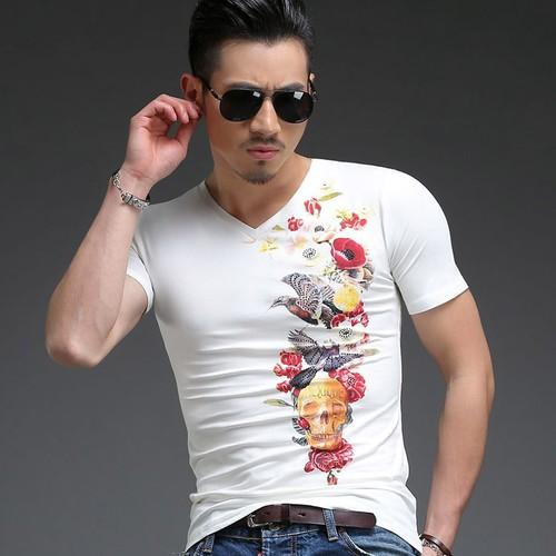 Áo T-shirt nam, cổ tròn, cộc tay, họa tiết in hoa, ôm sát