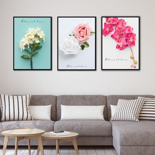 3 tranh canvas hoa kèm khung viền  - Khung hình Phạm Gia PGTK220V