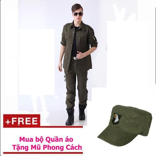 Bộ Quần áo kaki lính mỹ hộp nam tặng mũ phong cách