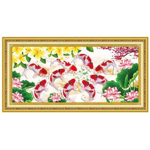 Tranh thêu chữ thập cá chép hoa sen YA1118 89 x 44 cm chưa thêu