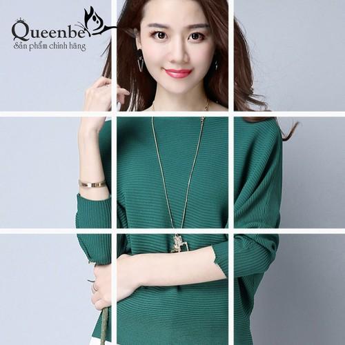 Áo len nữ kiểu màu xanh lá áo cánh dơi cổ thuyền Queenbe GLA206