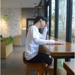 Áo thun tay dài Sweater White Basic Unisex