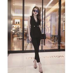 Set áo cổ vest phối ren đính nút quần dài siêu cute - SETKN3117