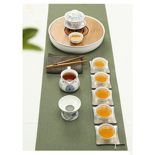 Bộ ấm trà Kungfu hoa xanh