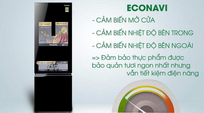 Công nghệ Econavi cho khả năng tiết kiệm điện vượt trội - Tủ lạnh Panasonic Inverter 322 lít NR-BC369QKV2