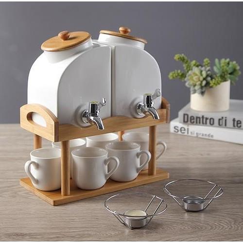 Bộ ấm trà uyên ương 6 cốc kèm giá gỗ
