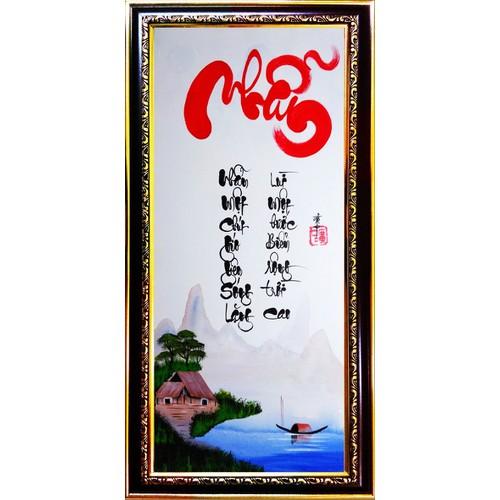 Tranh thư pháp vẽ tay chữ Nhẫn