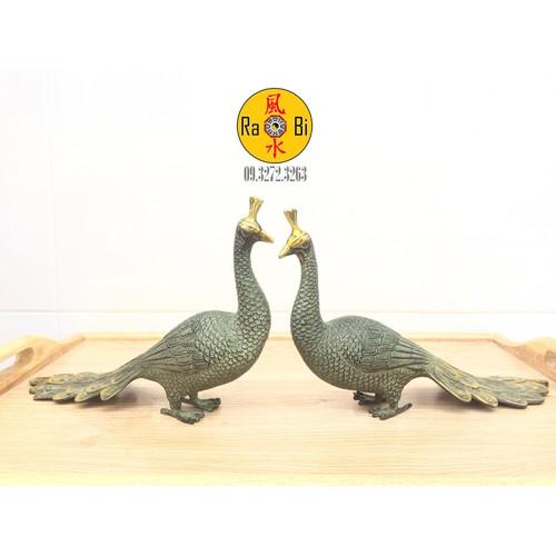 Khổng Tước xếp đuôi - Cặp Công hạnh phúc - Tượng Đồng Phong Thủy