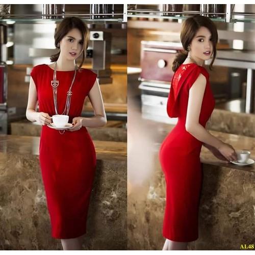 Đầm Ôm Body Đỏ Lưng Phối Ren Cách Điệu Sang Trọng